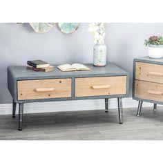 Litton Lane Gray Rectangular 2-Drawer Coffee Table