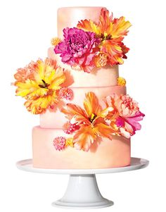 Hot Pink  Orange Wedding Cake. ♥