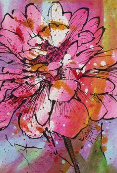 003 Zinnia Acryl Malerei Blume Floral Bright von LarryLerewFineArt