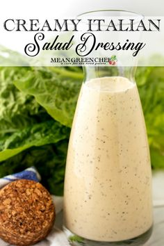 Creamy Italian Salad Dressing Recipe Our Creamy Italian Salad Dressing is a classic restaurant-style dressing at its best. It pops with flavor and reminds me of a creamy Italian Vinaigrette, perfectly coating any salad. Chef Recipes, Italian Recipes, Mexican Food Recipes, Appetizer Recipes, Vegetarian Recipes, Dinner Recipes, Creamy Italian Salad Dressing Recipe, Easy Dressing Recipe, Salad Dressing Recipes