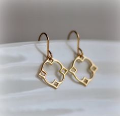 Moroccan Dangle Earrings in Gold, Marrakech Jewelry in brushed vermeil, small, wearable everyday jewelry by Blissaria by Blissaria on Etsy https://www.etsy.com/listing/260868546/moroccan-dangle-earrings-in-gold