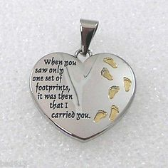 Footprints in The Sand Two Tone Heart Pendant with Chain | eBay