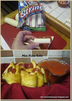 Mini Pizza Rolls (Crescent Rolls, Mozzarella Cheese & Pepperoni) - Served with warm Pizza Sauce