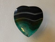 Charming Heart Green Onyx Agate Pendant Bead focal by JacsStash