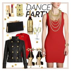 """""""She Is Red Hot"""" by atelier-briella ❤ liked on Polyvore featuring Oscar de la Renta, Jimmy Choo, Yves Saint Laurent, Balmain, MoÃ«t & Chandon, Adoriana, Panacea, cute, chic and danceparty"""