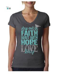 "Image of ""Faith, Hope, LOVE BIG"" Ladies Fit V-neck C4C Retreat Tee"