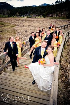 Image detail for -The wedding party poses on the boardwalk. Evergreen Lakehouse wedding ...