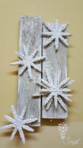 zima / drewniane spinacze / śnieżynki / winter / snowflake / diy
