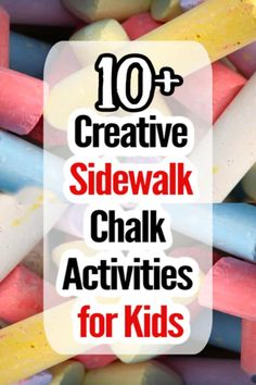 Forget about ordinary writing and drawing. Here are fun and creative ways for kids to play with sidewalk chalk at home or preschool. # garden activities for toddlers play ideas Creative Sidewalk Chalk Activities for Kids Kids Activities At Home, Gross Motor Activities, Creative Activities, Sensory Activities, Infant Activities, Crafts For Kids, Sensory Rooms, Creative Kids, Toddler Play