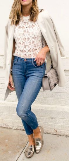 Lace is in this season + semi-sheer blouse + perfect for creating an ultra feminine and sophisticated style + longline blazer + Topshop + Becky Hillyard + gorgeous style for yourself!   Blazer: Topshop, Top: Anthropologie, Jeans: J Brand, Bag: Rebecca Minkoff.