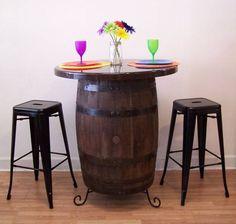 "Patio Whiskey Barrel Table c/36"" Dark Walnut Resin Top-Stand-(2) 30"" Bl. Metal Bar Stools-FREE SHIPPING by AuntMollysBarrels on Etsy"