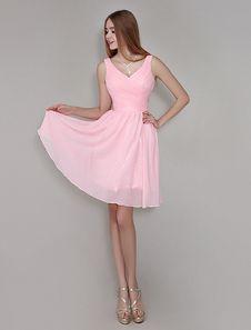 Robe demoiselle d'honneur A-ligne en chiffon rose plissé col V