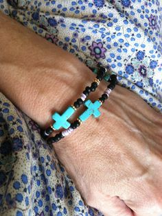 Turquoise sideways cross bracelets with bone by MapletonDrive, $18.00