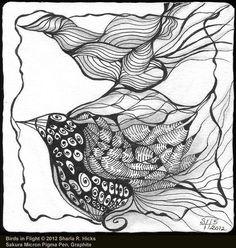 Birds In Flight ©2012 Sharla R. Hicks, Zentangle Tile, Sakura Micron Pigma Pen 01 & Graphite by Sharla R. Hicks CZT, Certified Zentangle Teacher in Anaheim CA via Flickr