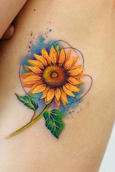 Different Interpretations of a Sunflower Tattoo ★ A lot of beautiful designs for women. Here you will find not only simple, minimalistic or small watercolor sunflower tattoo ideas, but also more complicated ones with the meaning. Watercolor Sunflower Tattoo, Watercolor Tattoo Sleeve, Small Watercolor Tattoo, Sunflower Tattoo Small, Sunflower Tattoos, Sunflower Tattoo Design, Thigh Tattoo Designs, Flower Tattoo Designs, Tattoo Designs Men