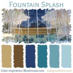 Fountain Splash Color Scheme inspired by Bluishmuse Spray Paint Colors, Paint Color Palettes, Colour Schemes, Color Combos, Colors Of Fire, Color Plan, Design Seeds, Colour Board, Color Pallets