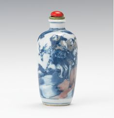 A Qianlong Blue and White Porcelain Snuff Bottle with Traveling Monks