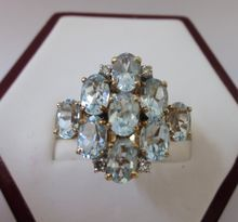 Spectacular 10K Gold and Blue Topaz Cocktail Ring, Size 6-1/2