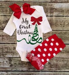 Christmas Onesie, Baby Girl Christmas Onesie, Christmas Shirt, My First Christmas Onesie, Onesie For Baby Girls   *****ONESIE ONLY LEG WARMERS NOT