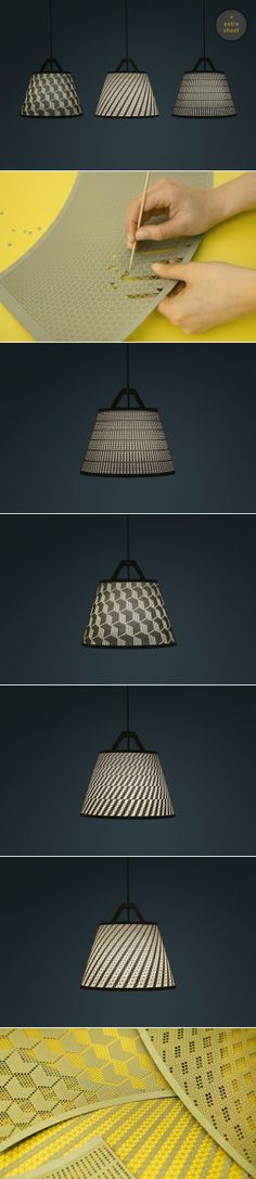 Brilliant concept of a customizable hand-made lampshade — http://www.fifti-fifti.net/en/catalog/take-off-light.html
