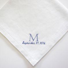 Men's personalized handkerchief. 100% Fine Irish Linen.