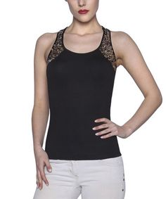Love this Black Sequin Racerback Tank by Elfe on #zulily! #zulilyfinds