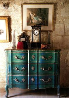 love the turquoise! #refinish #refurbish #diy