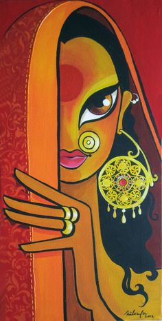 """Saatchi Art is pleased to offer the painting, """"Jhumka (The Earring),"""" by Niloufer Wadia. Original Painting: Acrylic on N/A. Size is 0 H x 0 W x 0 in. Madhubani Art, Madhubani Painting, Indian Folk Art, Indian Artist, Modern Indian Art, Art And Illustration, Rajasthani Art, Rajasthani Painting, Art Visage"""
