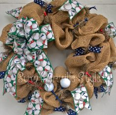 Golf Themed Burlap Wreath by Summerville Style