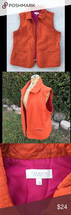 Talbots Puffer Quilted Zip Vest with Collar & Zip Orange quilted puffer vest. Pink fuchsia lining. Silver front zipper. Two pocket with silver zippers. Collared. Lightweight. Petite Large size, but would fit regular Large. Used. Worn. Talbots Jackets & Coats Vests