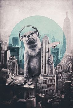 "Otter with turntable: ""DJ"" by Ali Gulec on Society6"