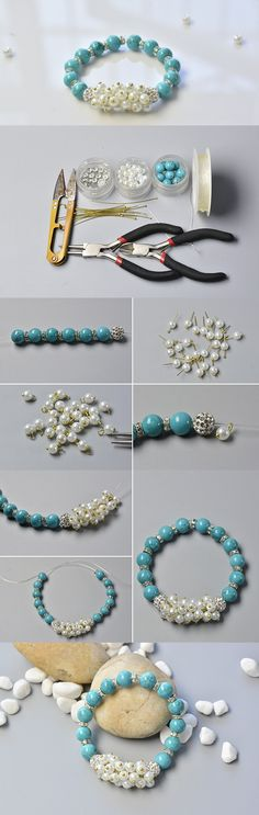 Making Chic Turquoise Beads and Pearl Beads Bracelet
