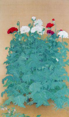 Kobayashi Kokei Poppies, Color on silk Plant Illustration, Botanical Illustration, Watercolor Illustration, Korean Painting, Japanese Painting, Botanical Drawings, Botanical Art, Japanese Art Styles, Japanese Flowers