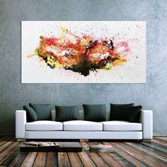 200x100cm abstraktes Acrylbild bunt auf Leinwand XXL Bild Malerei abstrakt Kunst Großformat orange schwarz