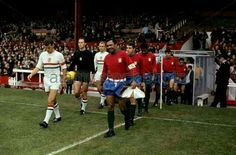 Portugal 3 Bulgaria 1 in 1966 at Old Trafford. The come out on the pitch for the Group 3 game at the World Cup Finals.