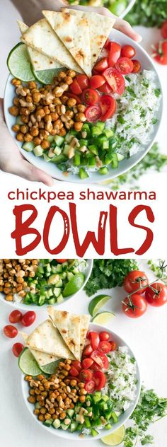 Chickpea Shawarma Bowls make healthy eating a breeze! Each tasty vegetarian grain bowl is loaded with fresh veggies, crispy chickpeas, and topped with an easy peasy tahini sauce. Shawarma, Healthy Vegan Snacks, Vegetarian Recipes, Healthy Eating, Healthy Recipes, Vegetarian Italian, Vegetarian Breakfast, Healthy Protein, Vegetarian Cooking