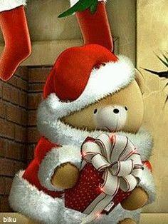 Merry Christmas Gif, Hello Kitty Christmas, Christmas Teddy Bear, Christmas Images, Christmas Art, Christmas Greetings, Beautiful Christmas, All Things Christmas, Animiertes Gif
