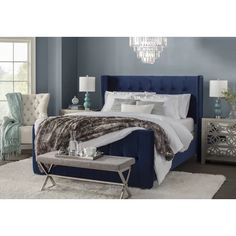 Get inspired by Glam Bedroom Design photo by Joss [AMP] Main. Wayfair lets you find the designer products in the photo and get ideas from thousands of other Glam Bedroom Design photos. Coastal Bedrooms, Shabby Chic Bedrooms, Luxurious Bedrooms, Shabby Chic Furniture, Dark Furniture, Blue Headboard, Blue Bedding, Bedding Sets, Glam Bedroom