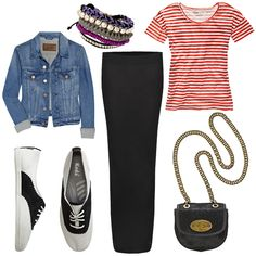 The Prepster    This one loves classic elements — a striped tee, a denim jacket, and saddle shoes — for that timeless appeal, but keeps it a little rebellious with friendship bracelets and a pony bag.