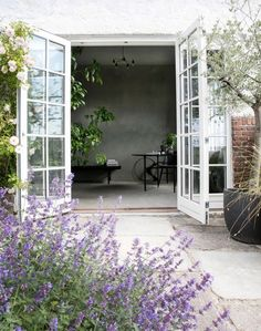 Velkommen inn til Jonas' oase! Outdoor Rooms, Outdoor Gardens, Outdoor Living, Outdoor Decor, Scandinavian Garden, Bright Homes, Purple Garden, Hygge, Terrace Garden