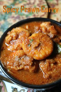 Prawn Curry Recipe / Spicy Prawn Curry without Coconut - Yummy Tummy Prawn Recipes, Spicy Recipes, Curry Recipes, Fish Recipes, Seafood Recipes, Indian Food Recipes, Cooking Recipes, Recipies, Pork Curry Recipe