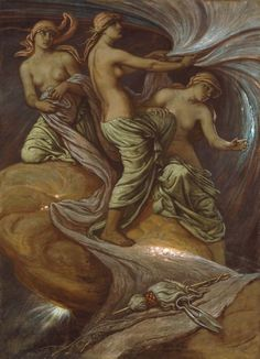Elihu Vedder -  The Fates Gathering in the Stars, 1887 ~ This image depicts the…