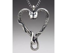 Snake Necklace Silver - Heart Necklace Silver - Viper's Valentine Pendant - Snake Jewelry - Serpent Jewelry - Heart Jewelry - Snake Charm