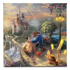 Disney Art & Collectibles - Thomas Kinkade Studios portfolio of Disney artwork captures the beauty of Disney fans' favorite movies and theme parks. Each Thomas Kinkade Studios Disney movie Disney Pixar, Disney E Dreamworks, Disney Art, Disney Movies, Disney Magic, Walt Disney, Fantasy Angel, Fantasy Romance, Beauty And The Beast Wallpaper