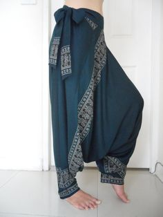 Turquoise Printed Harem Pants, Blue-Green Printed Harem Pants