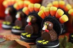 Happy Thanksgiving!   Whoppers malted milk ball head, Oreo cookie body, and candy corn feathers.