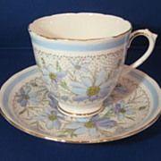 Tuscan Bone China England Devon Pastel Blue Daisies Teacup and Saucer