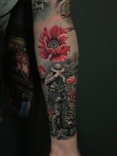 Soldier tattoo by Janis! Limited availability at Revival Tattoo Studio! Poppy Tattoo Sleeve, Leg Sleeve Tattoo, Leg Tattoo Men, Full Sleeve Tattoos, Leg Tattoos, Body Art Tattoos, Tattoos For Guys, Poppy Tattoo Men, Tattoo Shoulder
