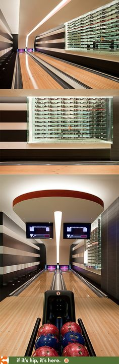 A modern luxury home with a combination bowling alley and wine cellar. More pics at http://ifitshipitshere.blogspot.com/2014/02/modern-luxury-living-architecture.html