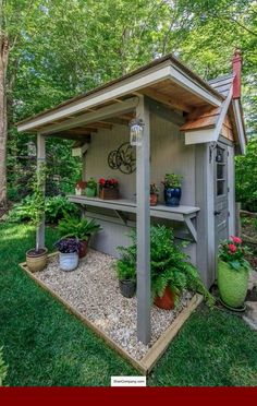 Small Garden Shed Storage ideas is part of Backyard sheds - Small Garden Shed Storage ideas [ ]Read Garden Shed Diy, Backyard Sheds, Backyard Landscaping, Home And Garden, Shed Patio Ideas, Backyard Storage Sheds, Storage Shed Landscaping Ideas, Rustic Backyard, Shed Exterior Ideas